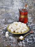 Dried coconut  and tea Stock Photography