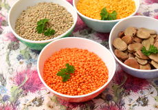Dried colorful lentils Royalty Free Stock Photos