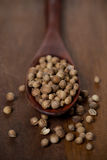 Dried coriander in a wooden spoon, close-up, selective focus Stock Photo