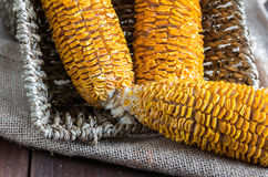 Dried Corn Stalk in basket on wood table Royalty Free Stock Images