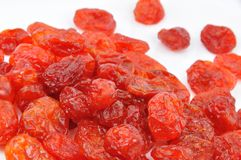 Dried Cornelian Cherries on White Royalty Free Stock Photos