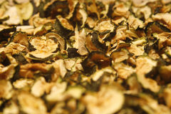 Dried courgettes. Close up image of home dehydrated courgettes Royalty Free Stock Image