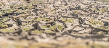 Dried cracked earth soil ground texture background. Crack soil on dry season, Global worming effect stock photo