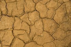 Dried cracked earth soil ground texture background. Mosaic pattern of sunny dried earth soil Stock Image
