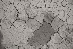 Dried cracked earth soil ground texture background. Mosaic pattern of sunny dried earth soil royalty free stock photo