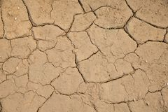 Dried cracked earth soil ground texture background. Mosaic pattern of sunny dried earth soil Stock Photos