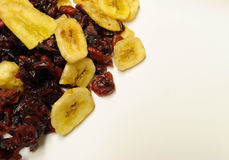 Dried cranberries and Bananas Stock Images