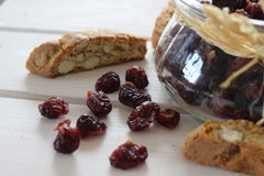Dried cranberries, biscuits, italian food, italian snacks, italian biscuits Royalty Free Stock Image