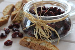 Dried cranberries, biscuits, italian food, italian snacks, italian biscuits Stock Image
