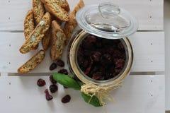 Dried cranberries, biscuits, italian food, italian snacks, italian biscuits Stock Photos