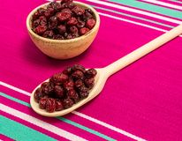 Dried cranberries on canvas close up Stock Photos