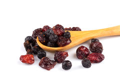 Dried cranberries, cherries and blueberries Royalty Free Stock Photos