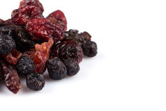 Dried cranberries, cherries and blueberries Royalty Free Stock Images