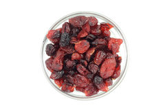 Dried cranberries in a glass on a white background Stock Photo