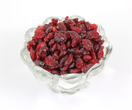 Dried cranberries in leaded glass dish Stock Images