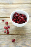 Dried cranberries in white bowl Stock Images