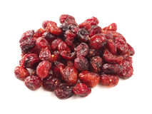 Dried cranberries on white Royalty Free Stock Photography