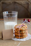 Dried cranberry cookies and glass of milk Royalty Free Stock Images