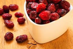 Dried cranberry fruit in bowl on table. Royalty Free Stock Photo
