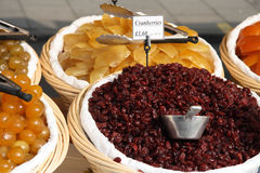 Dried Cranberry In The Basket Royalty Free Stock Photos