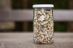 Dried daisies in a jar. Placed on a dark wooden table Stock Photo