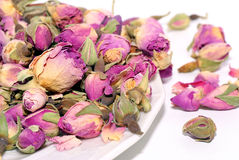Dried damask rose. Dried flowers roses(Rosa damascena),mainly used for production of rose oil and pink water and therapies Stock Images