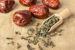 Dried date fruit and tea Stock Photography