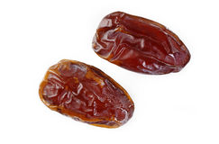 Dried date fruit on white Royalty Free Stock Photos