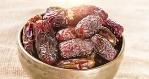 Dried date fruits. Pile of fresh dried date fruits, 4k footage video