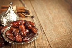 Dried date palm fruits or kurma, ramadan ( ramazan ) food Royalty Free Stock Photo