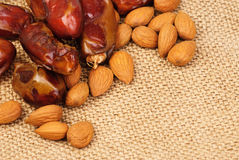 Dried dates and almonds Royalty Free Stock Photo