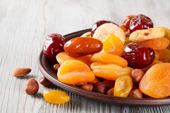 Dried dates and apricots Royalty Free Stock Images