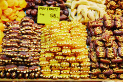 Dried dates and apricots stuffed with nuts on a traditional farmer market in Istanbul, Turkey Stock Photography