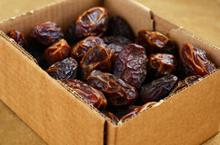 Dried dates in cardboard box Stock Image