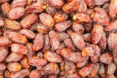 Dried dates displayed on food market. Kyrenia, Norhtern Cyprus royalty free stock photo
