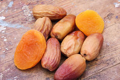 Dried dates with dried apricot Royalty Free Stock Image