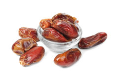 Dried dates on glass bowl Stock Photography