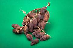Dried dates. With a green background . according to the theme of the Muslim month of fasting , Glucose and sweetness Stock Photography