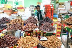 Dried dates at a market. A rich selection of different varieties of dates on the Dubai market Stock Photo