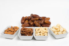 Dried dates and nuts Stock Images