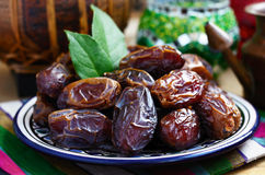 Dried dates in oriental style Stock Photos