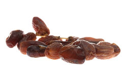 Dried dates (Phoenix dactylifera l) isolated on white background Royalty Free Stock Photos