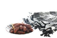 Dried dates (Phoenix dactylifera l) isolated on white background Royalty Free Stock Photo