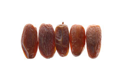 Dried dates (Phoenix dactylifera l) isolated on white background Stock Photos