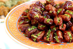 Dried dates with pistachio Royalty Free Stock Images