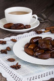 Dried dates in a plate stock images