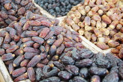 Dried dates sold at an Arabic market stall.  Royalty Free Stock Image