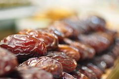 Dried dates. Stacks of dried dates display on a Spice Bazaar in Instanbul royalty free stock images