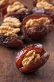 Dried dates with walnut Royalty Free Stock Photo