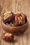 Dried dates with walnut Stock Photography